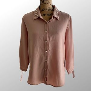 Marc New York Top Blouse Pink Blush Pearl Buttons